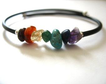Rainbow Chakra Stone Jewelry, Rainbow Chakra Gemstone Cuff Bracelet, Chakra Jewelry