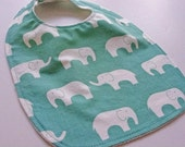CLOSEOUT SALE- Organic Baby/Toddler Bib - Teal Elephants