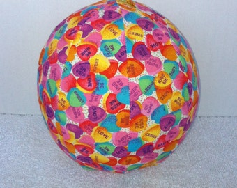 Balloon Ball with Drawstring Pouch-Conversation Hearts (Ball 108)