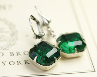 Emerald crystal earrings art deco vintage style silver finish
