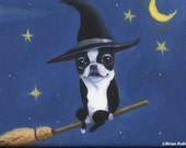Boston terrier bt witch on a broom dog art magnet