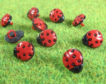 Tiny Red Ladybug Novelty Buttons