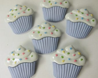 Large Light Blue Cupcakes with Sprinkles Novelty Buttons