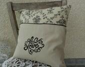 "Monogrammed ""Love"" Cushion cover in  Toile de Jouy cotton & biege linen"