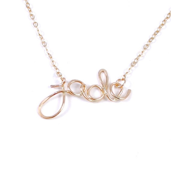 personalized name necklace in 14kt gold filled