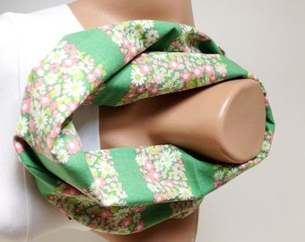 Infinity Scarf. Loop Scarf ..Cotton Scarf... Green Scarf with flower