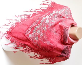 Flower Scarf - Cotton Scarf -Red and Silver Scarf - Shawl