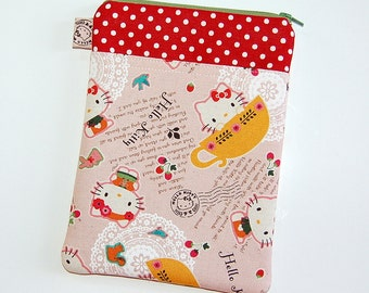 iPad Mini Padded Sleeve Case Cover with Front Pocket- Handcrafted from Hello Kitty In A Teacup