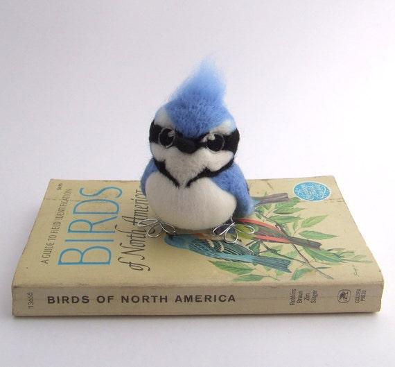 Reserved for Susan Blue Jay Needle Felted Blue Jay American Bird