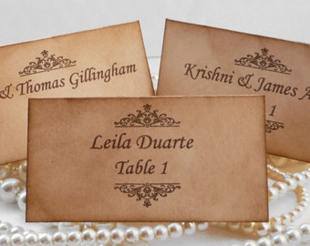 Wedding Place Cards - Vintage Style - Set of 50 - Matching Table Numbers Available