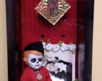 Day of the dead boy with gun altar hand made