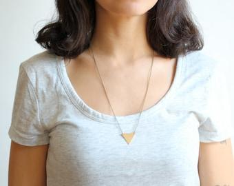 Minimalist Geometric Brass Triangle Necklace