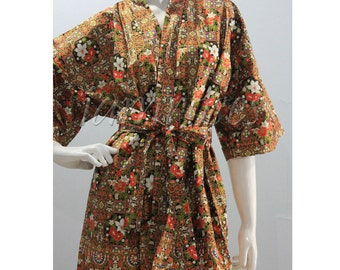 Gold Black Red Flower Printed  Kimono Thai Batik Floral Short Bath Mother Materity Meditation Robe M - L (SR135) Free Shipping