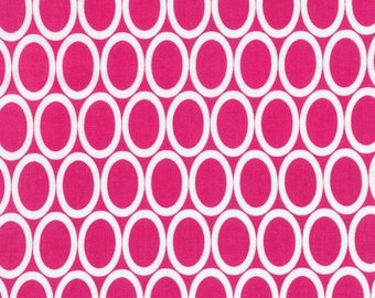 Remix Ovals quilt or craft fabric by Ann Kelle for Robert Kaufman- Ovals in Bright Pink- You Choose The Cut, Free Shipping Available
