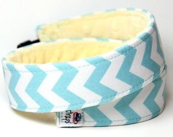 Camera Strap Blue Chevron with Yellow Minky