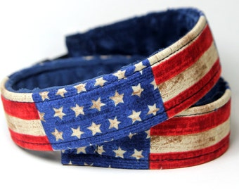 American Flag Camera Strap, US Flag Strap, Canon or Nikon Strap with Navy Minky