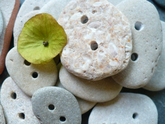 STONE BUTTONS...20 handmade stone button  beach finds  earth rocks  supplies-organic notions-sewing knitting supplies