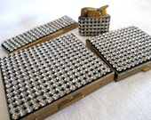 Vintage 50s Rhinestone Compact Set - Cigarette Case Lighter Comb 4pc by Schildkraut - daisyfairbanks