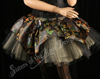 Adult tutu skirt silk topper OOAK party dance gold black chinese gothic costume victorian - Small -- Ready To Ship -- Sisters of the Moon