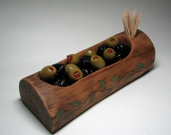 Natural Rustic Wooden Greek Olive Tray by Tanja Sova