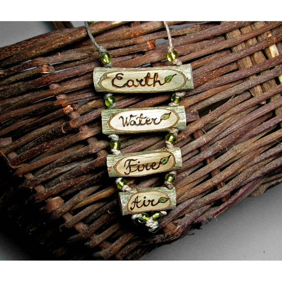 4 Elements Earth Water Fire Air Peridot Bead Hemp Rustic Twig Wooden Necklace by Tanja Sova