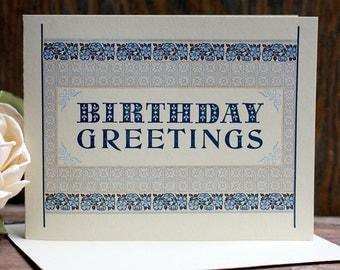 Birthday Greetings letterpress card blue flowers