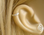Handmade Ear Cuff in Sterling Silver, Twisted Wire Ear Cuff Hoop