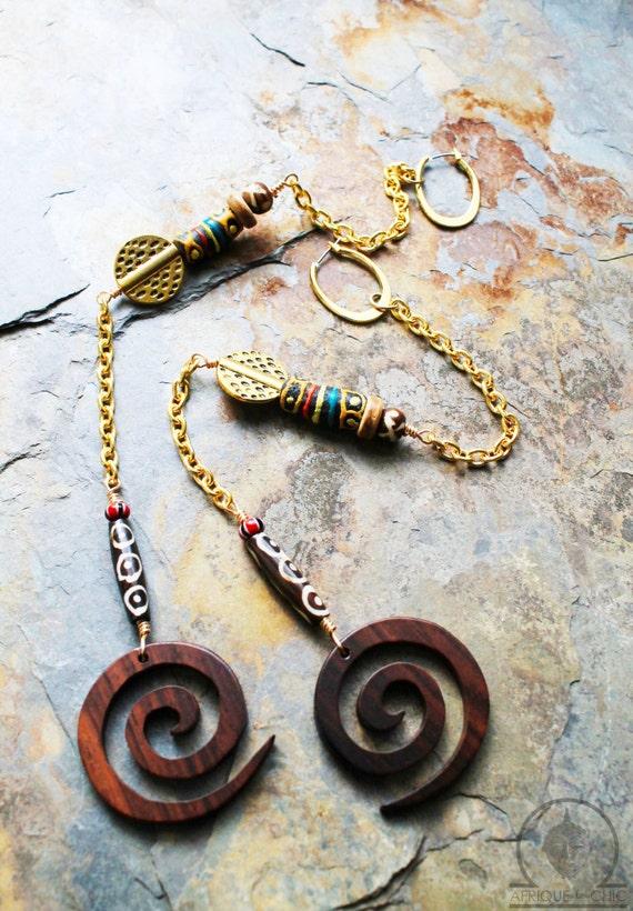 Tribal Essence Long Chain Earrings