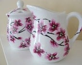 Cherry Blossoms Cream and Sugar Set Hand Painted
