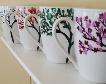Four Seasons Mugs/Cups Hand Painted