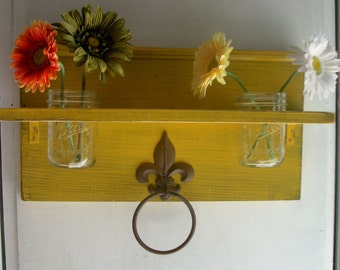 Shabby Primitive Mustard Yellow Bathroom or  Kitchen Fleur de Lis Towel Rings Shelf with Mason Jar
