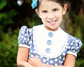 SALE!!1960's Style Polka Dot lace and bib dress..children, girls,retro