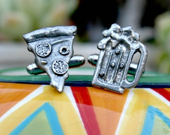 Cufflinks  - Cuff Links - Pizza and Beer
