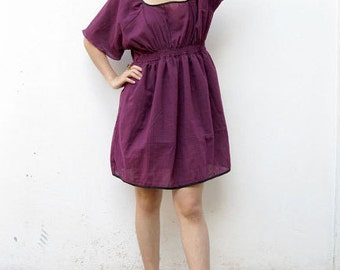 Custom Made Purple Loose Fitting Casual Short Sleeve Smock Cotton Dress Blouse Shirt Women's Top Lovely Blouse Leisure Dress S-L (H)