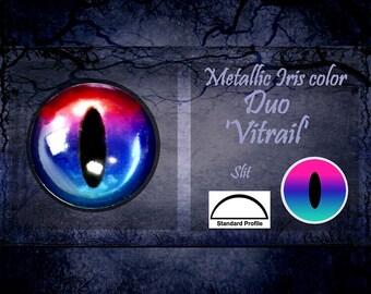Doll Irises 14mm Metallic Duo slit color Vitrail