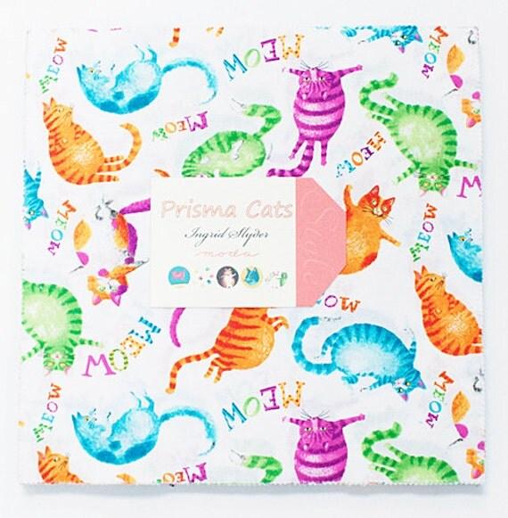 "Moda PRISMA CATS Layer Cake 10"" Fabric Quilting Squares Ingrid Slyder 23110LC"