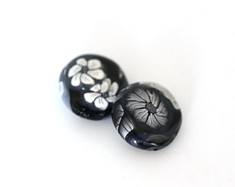 Black and White Rose Beads, Polymer Clay Lentil Pair with Flowers