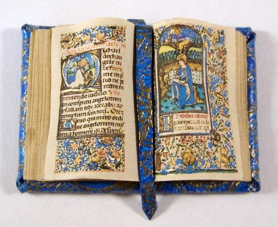 Miniature Book Medieval Gold Illuminated Open Book Ooak Blue