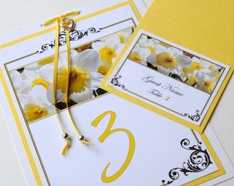 Yellow Daffodil Wedding Table Numbers and Place Cards