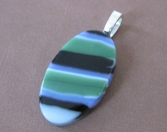 Striped Fused Glass Pendant, Green, Black, Earthy Jewelry, Earthtone, Handmade Fused Glass Jewelry on Etsy, Ready to Ship - Zeigler -3925-3