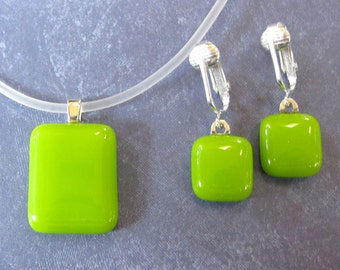 Lime Green Fused Glass Jewelry Set, Simple Pendant and Earrings Set, Green Glass Necklace and Clip On Earrings - Spring Green -  4208  -3