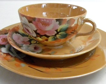Hand Painted  3 Piece LUNCHEON or CAKE SET made in Japan