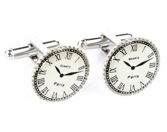 Steampunk Silver Matched Clockwork Cufflinks with Vintage Style Clock Faces by Velvet Mechanism
