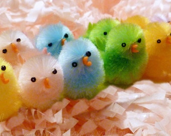 12 Cotton Candy Pastels Fluffy Chenille Chicks Peeps Easter Basket Decorations Ornaments (6 colors)