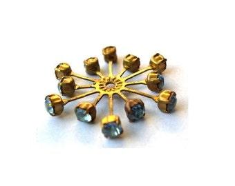 Vintage SWAROVSKI flower bead 32mm light blue crystals in brass setting  genuine 1100 made in Austria