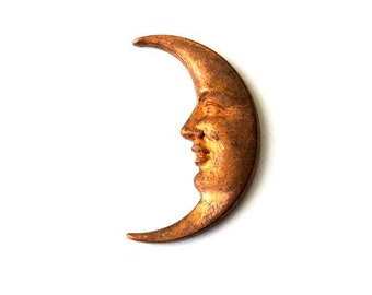 2 moon metal ornaments findings