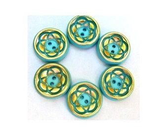 6 Flower buttons vintage blue with gold color trim 21mm, 6mm height