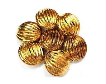 6 Vintage buttons gold color plastic unique pattern 20mm, 7mm thick without the shank