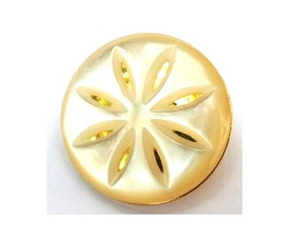 6 Vintage flowers buttons shinning white plastic on gold color plastic base 28mm, 7mm thick, shank buttons