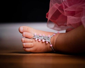 Baby Barefoot Sandals 6-12 mo Foot Jewelry YOU DESIGN THEM Photo Prop Anklet Toe Ring Soleless Thongs